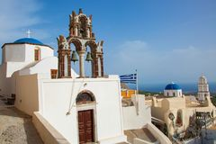 Pyrgos Village in Santorini stock photography