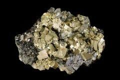 Pyrit- och sphaleritemineralkristaller Arkivfoto