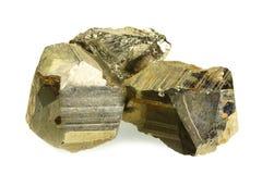 Pyrit som isoleras på vit Arkivfoton