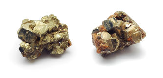 Pyrite. Rocks isolated on white Stock Photography