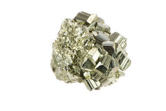 Pyrite. Macro of an isolated iron pyrite mineral Stock Photo
