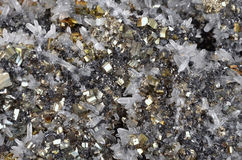 Pyrite. And galena absorbed by quartz ,natural crystal,Close-up Stock Photography