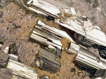 Pyrite. And galena absorbed by quartz ,natural crystal,Close-up Stock Images