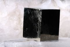 Pyrite. Cube crystal on quartz Royalty Free Stock Photography