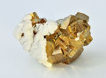 Pyrite. Beautiful single large cubes Royalty Free Stock Photo