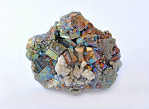 Pyrite and chalcopyrite. Beautiful single large cubes Stock Photography