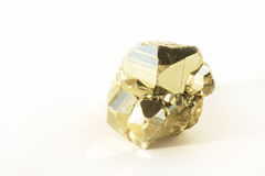 Pyrite. Crystal on a white background Stock Image