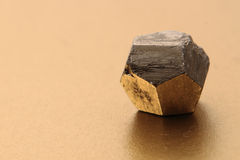 Pyrite cube isolated Royalty Free Stock Photo