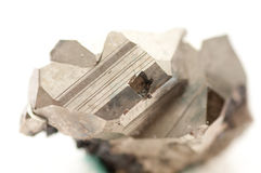 Pyrite or fool's gold. Iron pyrite metal, fool's gold mineral sample Royalty Free Stock Photography