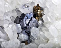 Pyrite and galena. Absorbed by quartz a beautiful piece Royalty Free Stock Photo