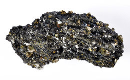 Pyrite and galena. Absorbed by quartz a excellent model Royalty Free Stock Photo