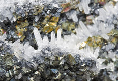 Pyrite. And galena absorbed by quartz ,natural crystal,Close-up Stock Photos