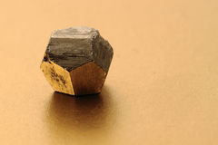 Pyrite gold crystal isolated Royalty Free Stock Photography