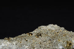 Pyrite gold on a stone Royalty Free Stock Photography
