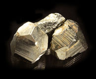 Pyrite isolated on black Stock Photos