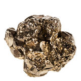 Pyrite. Macro shot of pyrite mineral isolated over a pure white background Royalty Free Stock Photography