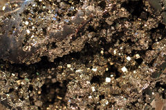 Pyrite mineral background. As very nice golden texture Royalty Free Stock Photography