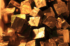Pyrite mineral background. As very nice golden texture Stock Image