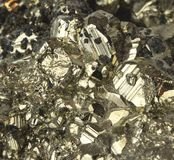 Pyrite Mineral Close Up Macro Detail Fools Gold. HERE is Colorado, many a miner came down from the hills one hundred years ago thinking they were millionaires royalty free stock images
