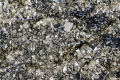Pyrite mineral closeup. Pyrite mineral close up - detail Stock Image