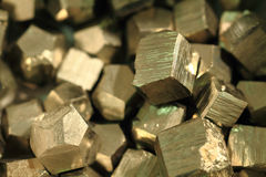 Pyrite mineral collection. As very nice golden texture Royalty Free Stock Photo