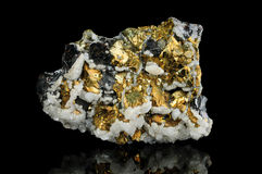 Pyrite mineral isolated on black royalty free stock photo