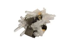 Pyrite and quartz. Perfect pyrite cubes between clear quartz crystals Stock Photography