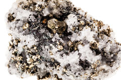 Pyrite in quartz matrix Royalty Free Stock Images