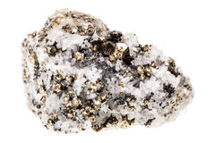 Pyrite in quartz. Mineral pyrite in quartz, known as Fool's gold, isolated over a white background Stock Photos