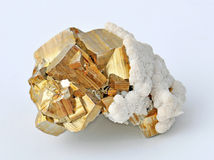 Pyrite. Single large cubes Royalty Free Stock Photos