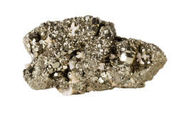Pyrite on white background Royalty Free Stock Image