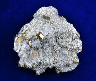 Pyrite with white quartz Royalty Free Stock Photography