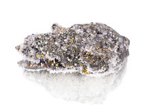 Pyrite. With white quartz and calcite white Royalty Free Stock Photo