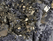 Pyrites druse. With galena, calcite, quartz Royalty Free Stock Images
