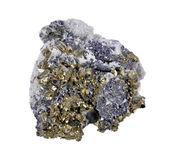 Pyrites druse with galena. Calcite, quartz,a white background Royalty Free Stock Photo