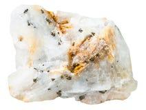 Pyritkristaller i den isolerade mineraliska stenen för kiseldioxid Royaltyfri Fotografi