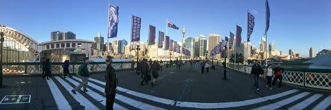 Pyrmont桥梁达令港悉尼新南威尔斯澳大利亚 免版税库存照片