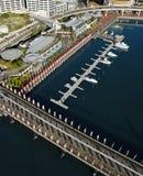 Pyrmont Bridge, Australia. Aerial view of Pyrmont Bridge andboats in Darling Harbour, Sydney, Australia Stock Photo