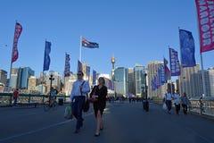 Pyrmont Bridge Darling Harbour Sydney New South Wales Australia Stock Photos