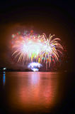 The pyrotechnic. Cast in the lake Stock Photo