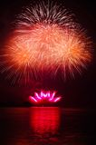 The pyrotechnic. Cast in the lake Stock Photography