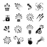 Pyrotechnic black icons. Pyrotechnic icons. Festival celebration sparkle burst, fun dynamite and firework star explosion signs, vector illustration Royalty Free Stock Images