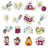 Pyrotechnic doodle icons set Royalty Free Stock Photos