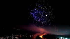 Pyrotechnic firework show stock footage