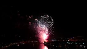 Pyrotechnic firework show stock video footage