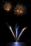 Pyrotechnic Fireworks at Lausanne, Switzerland. Pyrotechnic Fireworks at Lausanne on lake Leman Royalty Free Stock Photo