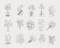 Pyrotechnic line icons Stock Image