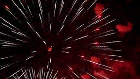 Pyrotechnic show för färgrikt fyrverkeri lager videofilmer