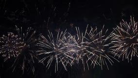 Pyrotechnic show för fantastiskt fyrverkeri lager videofilmer
