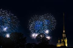 Pyrotechnic show in honor of the holiday in St. Petersburg, Russia. Scarlet Sails. stock photo